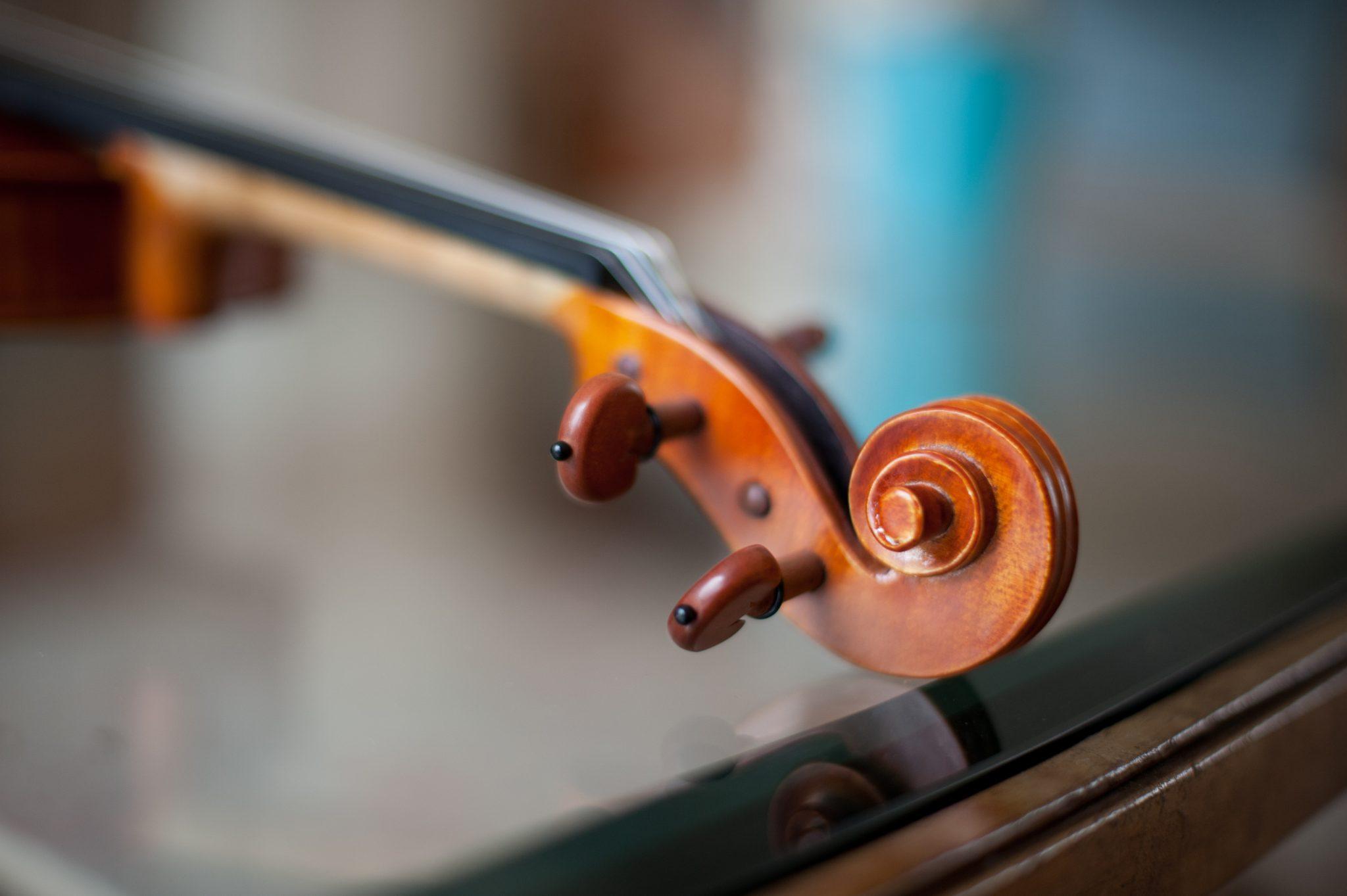 Close-up of a violin scroll