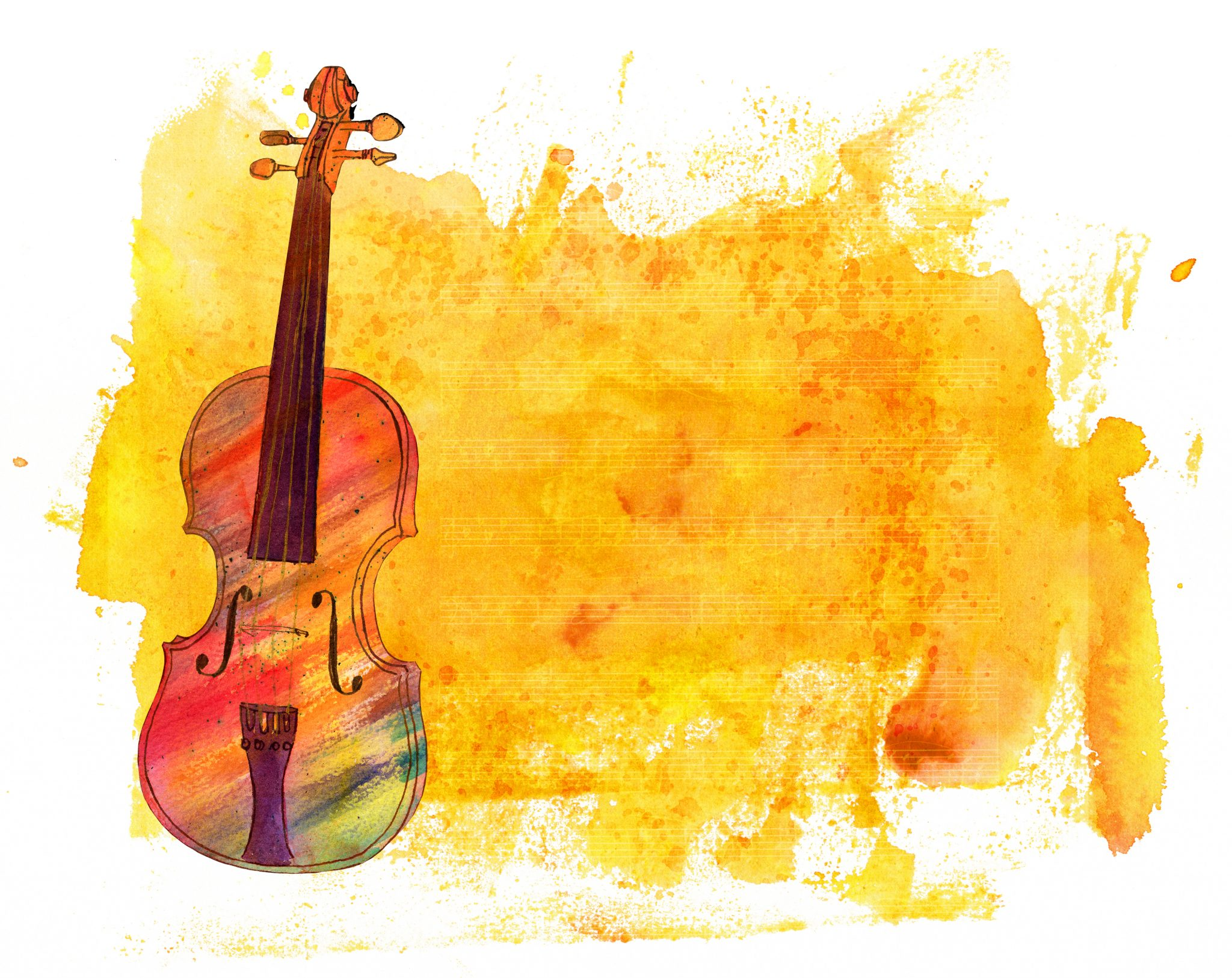 A watercolor drawing of a violin on an abstract acrylic golden background texture with a rough edge on white background, with faded sheet music and a place for text